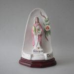 Imagem de Santa Luzia com flores em porcelana com 14 cm